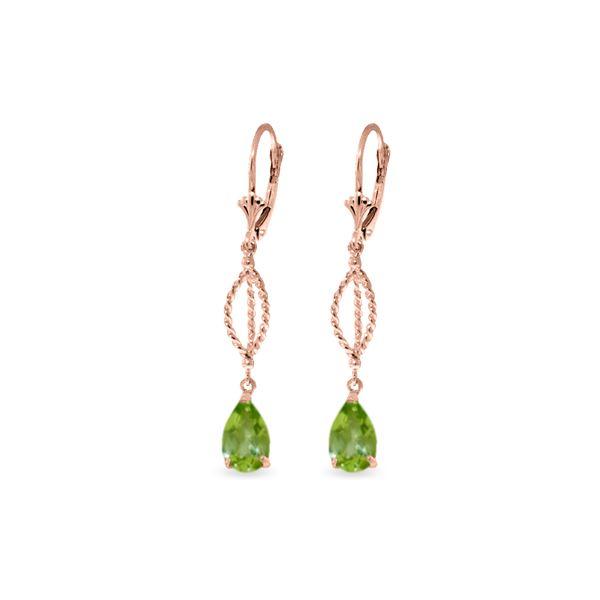 Genuine 3 ctw Peridot Earrings 14KT Rose Gold - REF-45Y5F