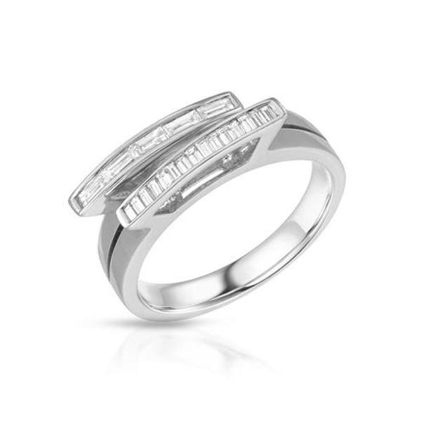 Natural 0.39 CTW Baguette Ring 18K White Gold - REF-90T9X