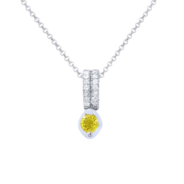 Natural 0.47 CTW Yellow Sapphire & Diamond Necklace 18K White Gold - REF-44T3X
