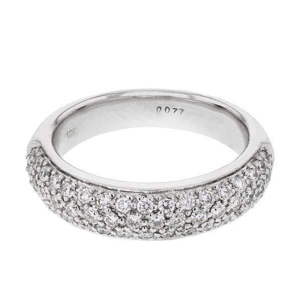 Natural 0.77 CTW Diamond Ring 18K White Gold - REF-131K4R