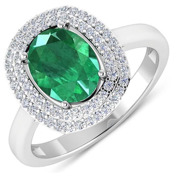 Natural 1.93 CTW Zambian Emerald & Diamond Ring 14K White Gold - REF-80T9H