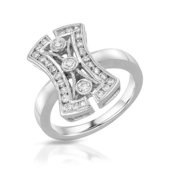 Natural 0.60 CTW Diamond Ring 14K White Gold - REF-91W8H