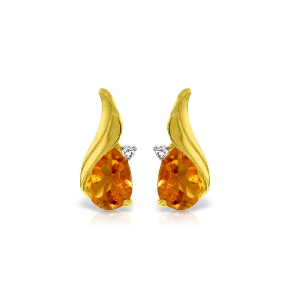 Genuine 3.26 ctw Citrine & Diamond Earrings 14KT Yellow Gold - REF-52F7Z