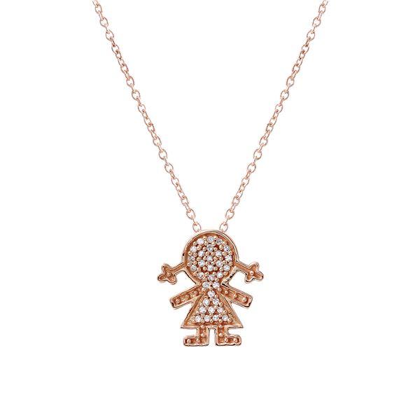 Natural 0.11 CTW Diamond Necklace 14K Rose Gold - REF-25T2X