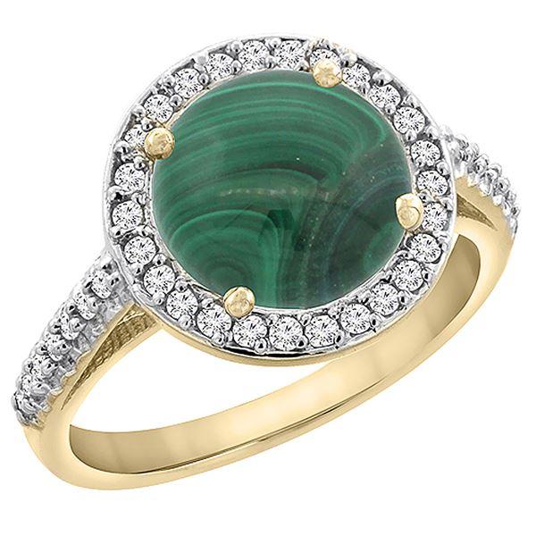 5.34 CTW Malachite & Diamond Ring 10K Yellow Gold - REF-55A5X
