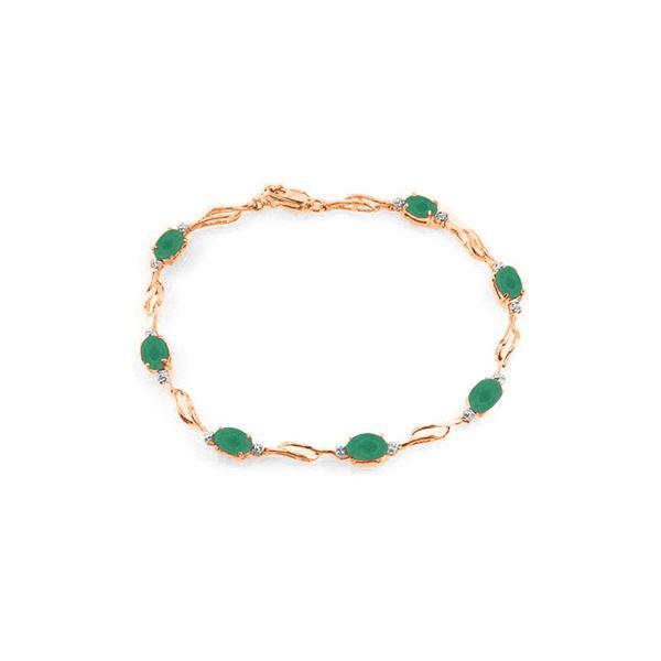Genuine 3.51 ctw Emerald & Diamond Bracelet 14KT Rose Gold - REF-118K2V