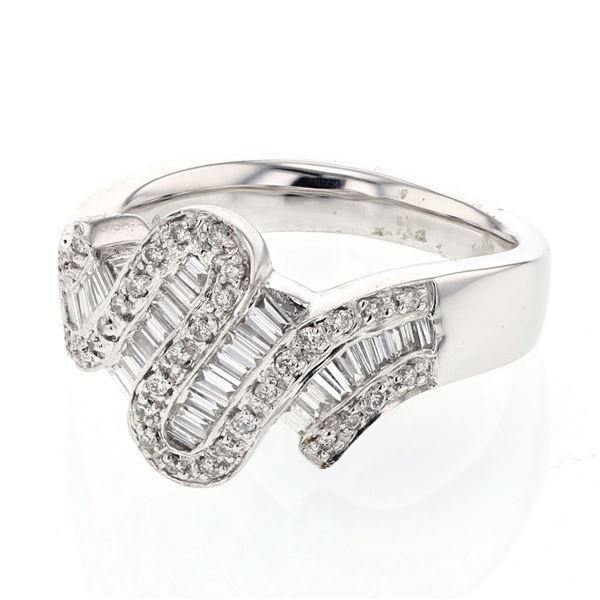 Natural 0.62 CTW Baguette & Diamond Ring 18K White Gold - REF-133F2M