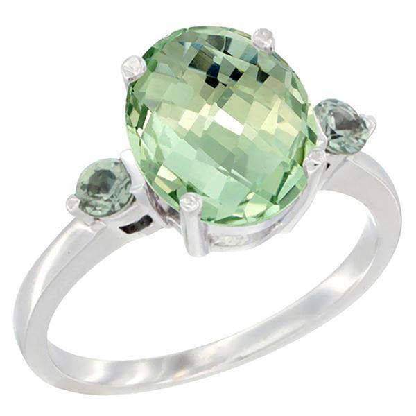 2.64 CTW Amethyst & Green Sapphire Ring 10K White Gold - REF-24M5K