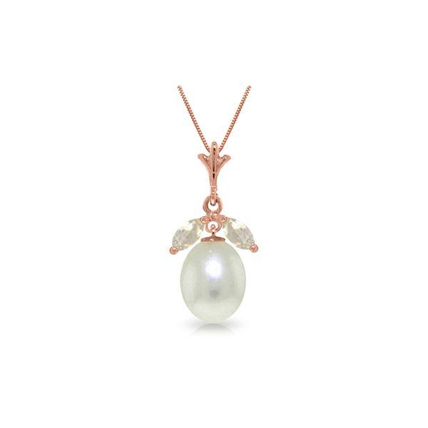 Genuine 4.5 ctw White Topaz Necklace 14KT Rose Gold - REF-24F3Z