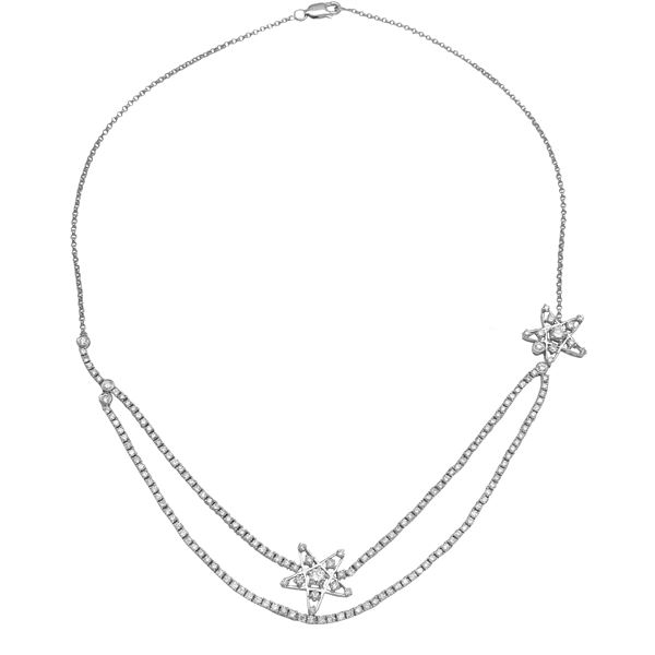 Natural 3.73 CTW Diamond Necklace 14K White Gold - REF-287W3H