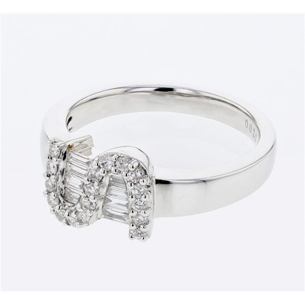 Natural 0.38 CTW Diamond & Baguette Ring 18K White Gold - REF-85W5H