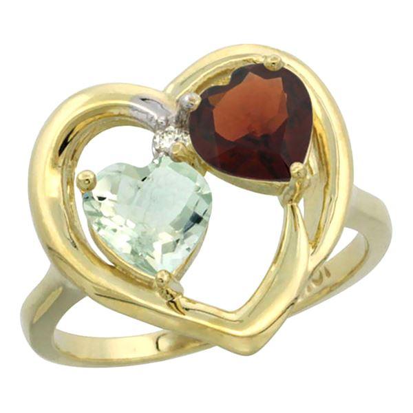 2.61 CTW Diamond, Amethyst & Garnet Ring 10K Yellow Gold - REF-23M7A