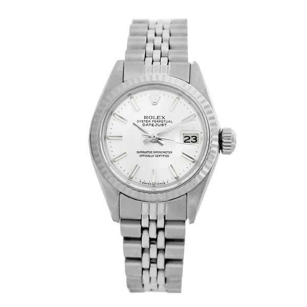 Rolex Pre-owned 26mm Womens Original Rolex Silver Dial Stainless Steel