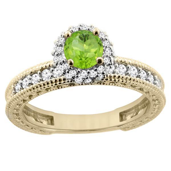 0.80 CTW Peridot & Diamond Ring 14K Yellow Gold - REF-65M8K