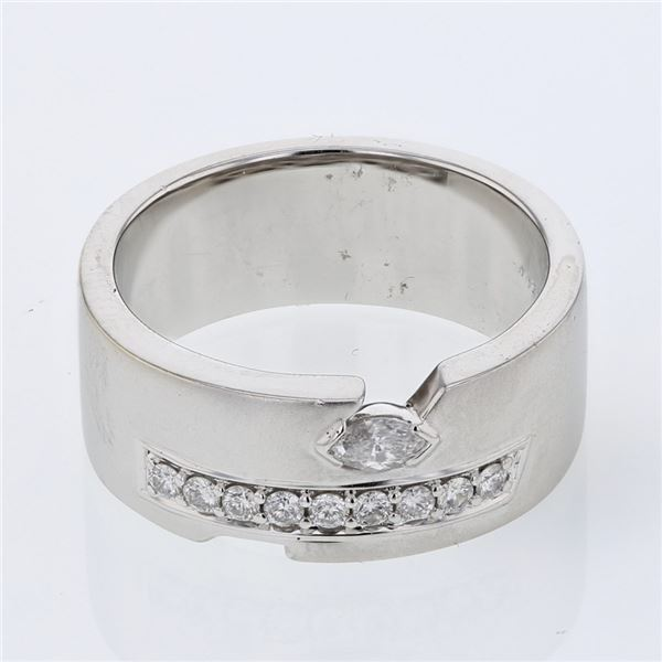 Natural 0.25 CTW Diamond & Marquise Ring 18K White Gold - REF-113N4Y