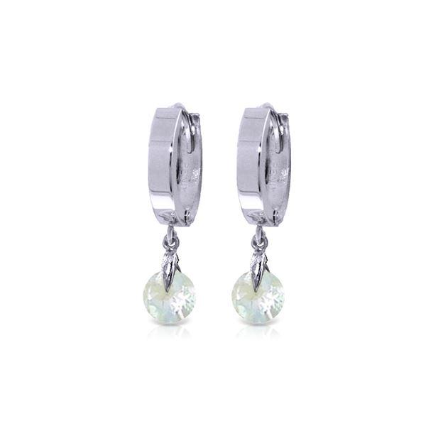 Genuine 1.30 ctw Aquamarine Earrings 14KT White Gold - REF-29M2T