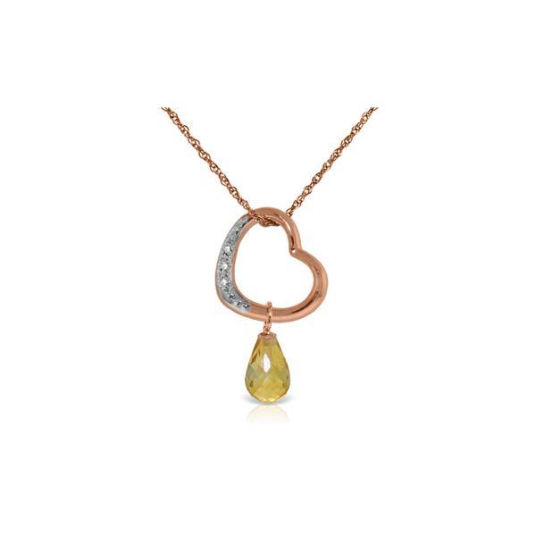 Genuine 2.28 ctw Citrine & Diamond Necklace 14KT Rose Gold - REF-40Y7F