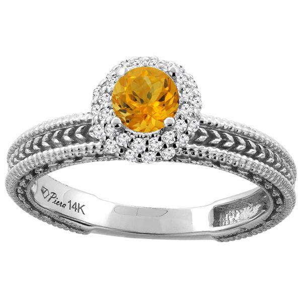 0.67 CTW Citrine & Diamond Ring 14K White Gold - REF-53R3H