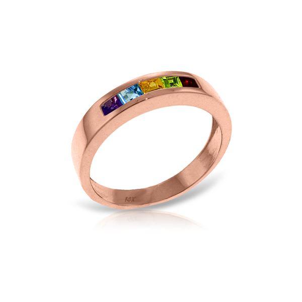 Genuine 0.60 ctw Multi-gemstones Ring 14KT Rose Gold - REF-46R2P