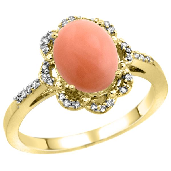 0.10 CTW Diamond & Natural Coral Ring 10K Yellow Gold - REF-36R2H