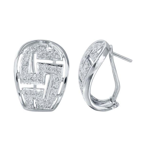 Natural 0.83 CTW Diamond Earrings 18K White Gold - REF-144W9H