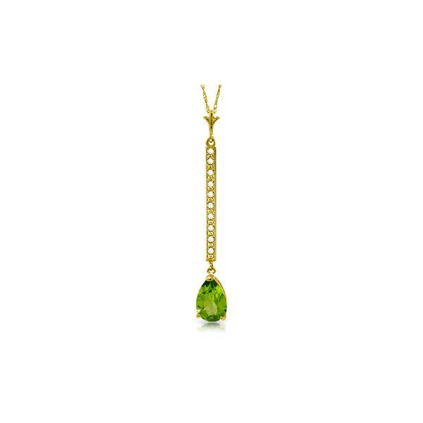 Genuine 1.80 ctw Peridot & Diamond Necklace 14KT Yellow Gold - REF-33P4H