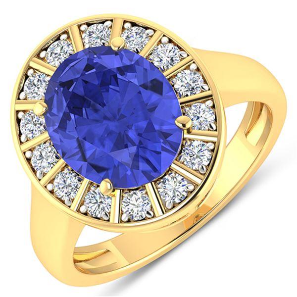 Natural 4.17 CTW Tanzanite & Diamond Ring 14K Yellow Gold - REF-133T3H
