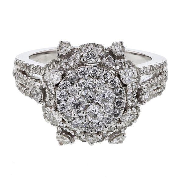 Natural 1.60 CTW Diamond Ring 14K White Gold - REF-183W6H