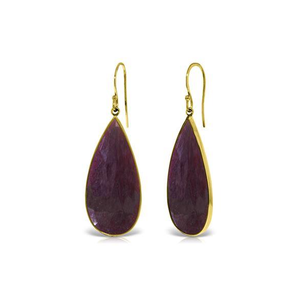 Genuine 40 ctw Ruby Earrings 14KT Yellow Gold - REF-107F3Z