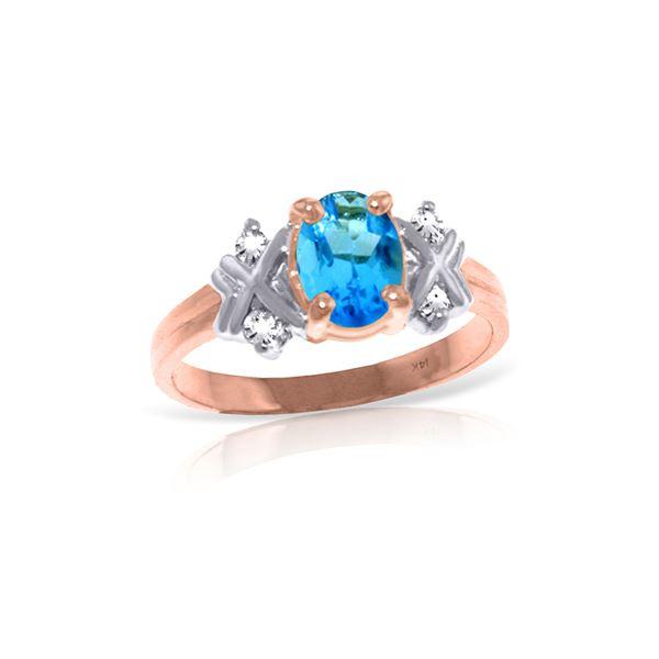Genuine 0.97 ctw Blue Topaz & Diamond Ring 14KT Rose Gold - REF-59A2K