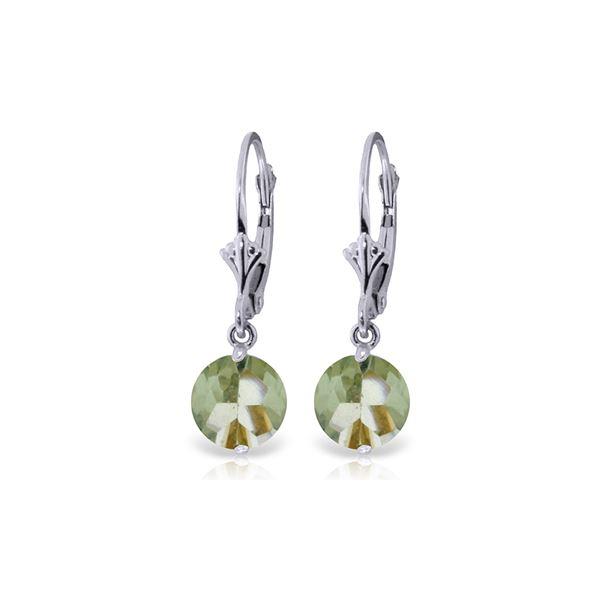 Genuine 3.1 ctw Green Amethyst Earrings 14KT White Gold - REF-34H3X