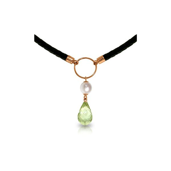 Genuine 7.5 ctw Green Amethyst & Pearl Necklace 14KT Rose Gold - REF-52M9T