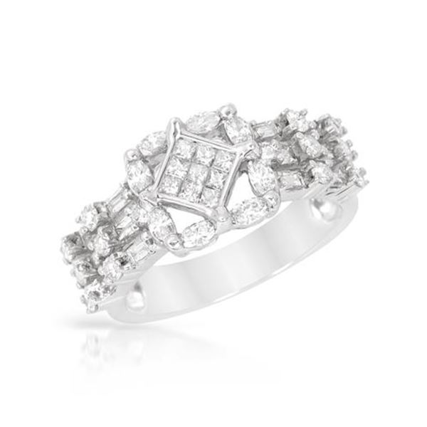 Natural 1.29 CTW Marquise & Diamond Ring 14K White Gold - REF-160F2M