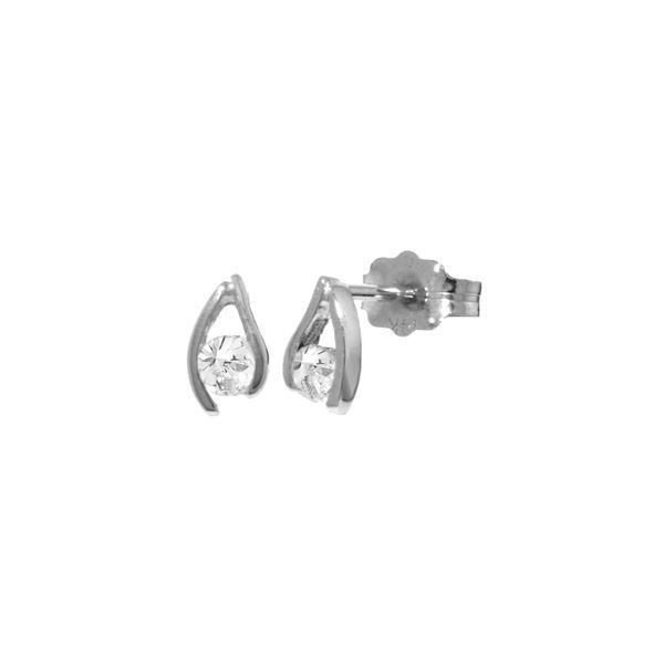 Genuine 0.20 ctw Diamond Anniversary Earrings 14KT White Gold - REF-41F2Z