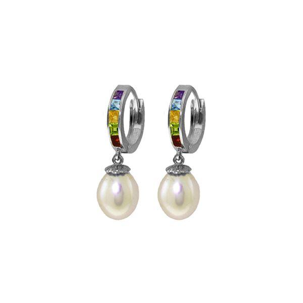 Genuine 9 ctw Pearl, Amethyst & Blue Topaz Earrings 14KT White Gold - REF-43Y2F