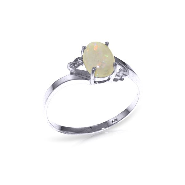 Genuine 0.45 ctw Opal Ring 14KT White Gold - REF-21T9A