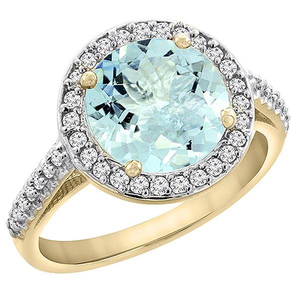2.44 CTW Aquamarine & Diamond Ring 10K Yellow Gold - REF-57N8Y