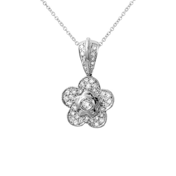 Natural 0.43 CTW Diamond Necklace 18K White Gold - REF-80F3M