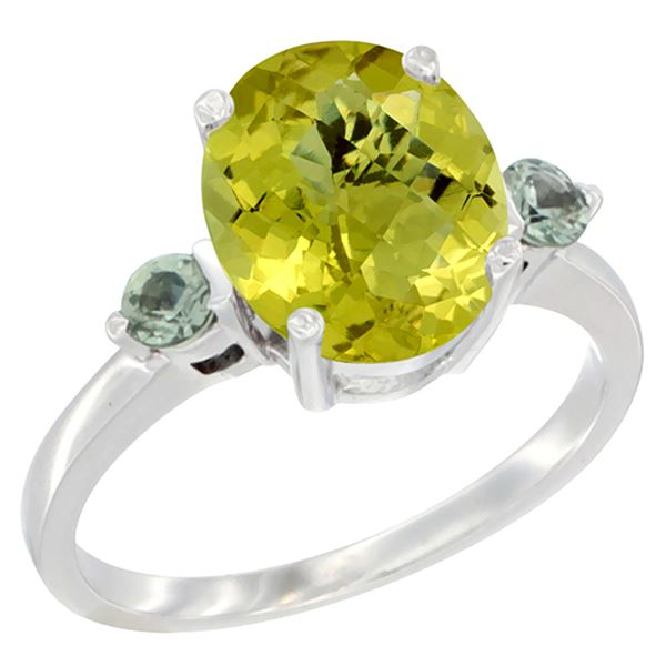 2.64 CTW Lemon Quartz & Green Sapphire Ring 10K White Gold - REF-23N7Y