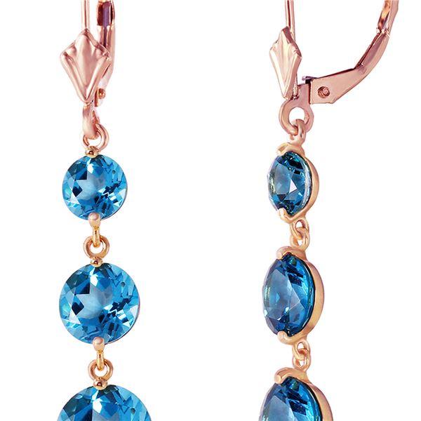 Genuine 7.2 ctw Blue Topaz Earrings 14KT Rose Gold - REF-42K6V