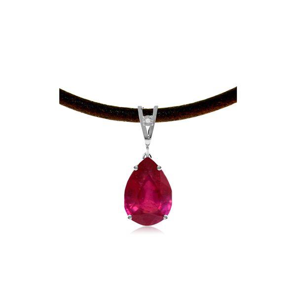 Genuine 5.01 ctw Ruby & Diamond Necklace 14KT White Gold - REF-59Z8N