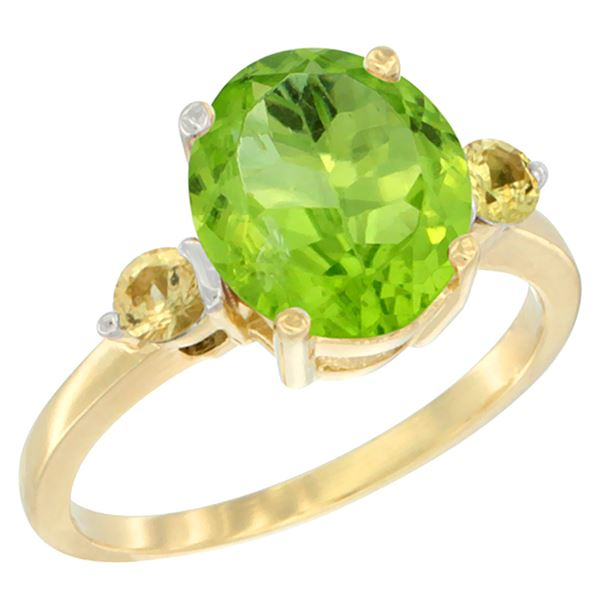 3.02 CTW Peridot & Yellow Sapphire Ring 14K Yellow Gold - REF-36W3F