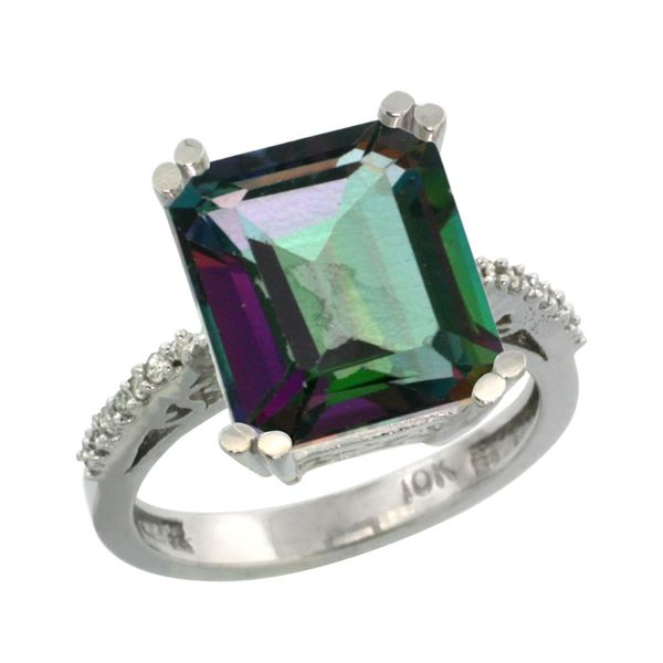 5.52 CTW Mystic Topaz & Diamond Ring 14K White Gold - REF-54M4A