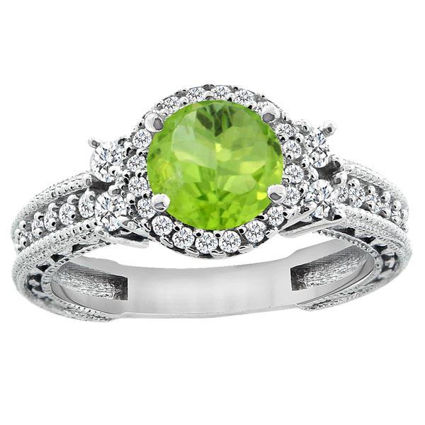 1.46 CTW Peridot & Diamond Ring 14K White Gold - REF-77K8W