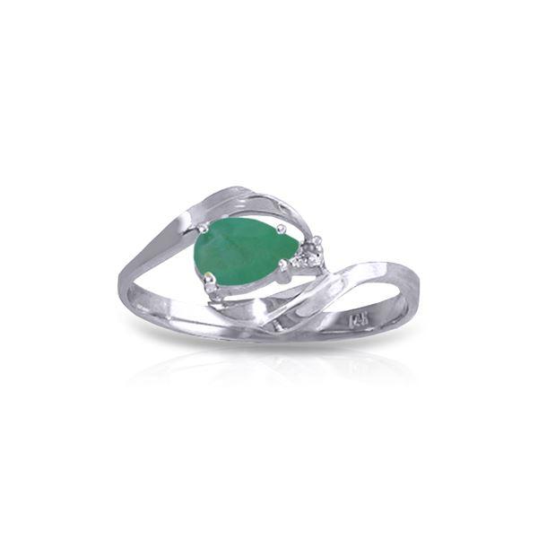 Genuine 0.51 ctw Emerald & Diamond Ring 14KT White Gold - REF-30X2M