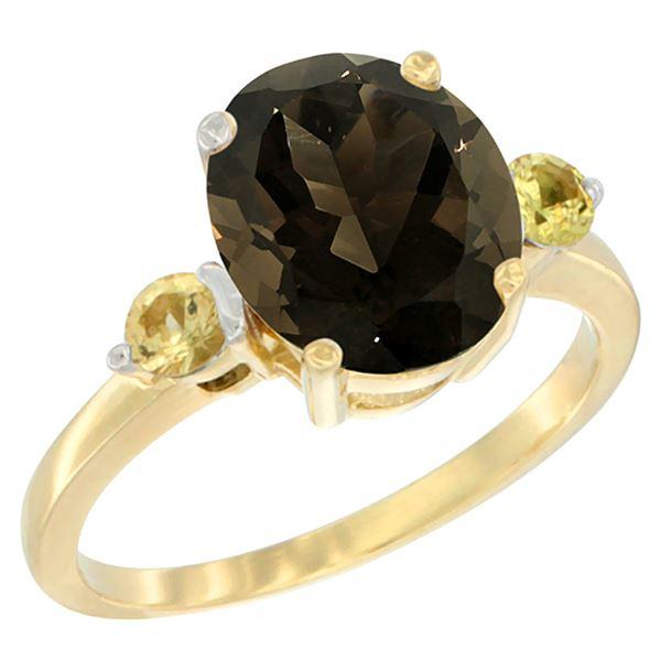 2.64 CTW Quartz & Yellow Sapphire Ring 10K Yellow Gold - REF-24V5R