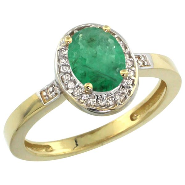 1.15 CTW Emerald & Diamond Ring 10K Yellow Gold - REF-37K6W