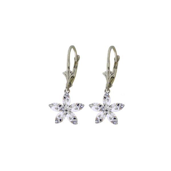 Genuine 2.8 ctw White Topaz Earrings 14KT White Gold - REF-46W7Y