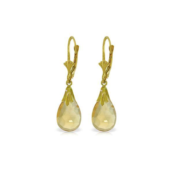 Genuine 6 ctw Citrine Earrings 14KT White Gold - REF-27W8Y