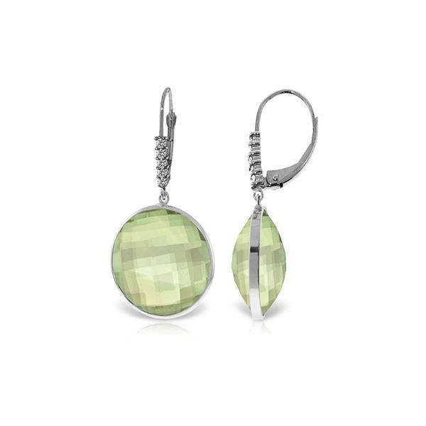 Genuine 36.15 ctw Green Amethyst & Diamond Earrings 14KT White Gold - REF-95F5Z